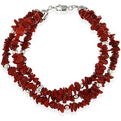 Glitzy Rocks Sterling Silver Three-strand Coral Chip Bracelet