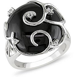 Sterling Silver Black Agate and White Topaz Ring | Overstock.com
