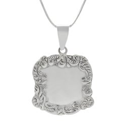 Sterling Silver Luggage Tag Necklace