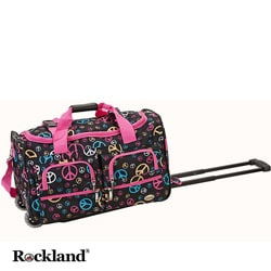 Rockland Peace Sign 22-inch Carry On Rolling Duffel Bag