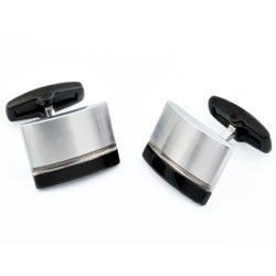 Stainless Steel Men's Black Stripe Cuff Links