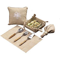 Set of 4 Khaki Kitchen Linens Gift Basket (India)