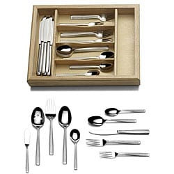 Mikasa 'Meridian Frost' 65-piece Flatware Set/ Caddy | Overstock