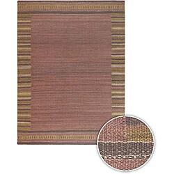 Hand-woven Mandara Red Rug (5' x 7'6)