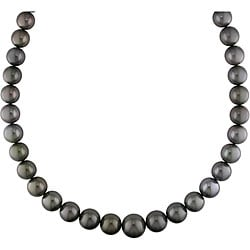 Miadora 14k Gold Black Tahitian Pearl/ Diamond Necklace (11-15 mm)