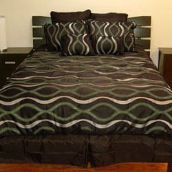 Symphony Chocolate/ Green 8-piece Comforter Set