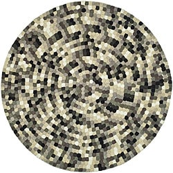 Handmade Soho Mosaic Black New Zealand Wool Rug (6' Round)