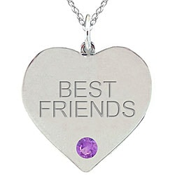 10k Gold February Birthstone Amethyst Engraved 'BEST FRIENDS' Necklace