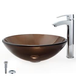 Kraus Brown Vessel Sink and Visio Bathroom Faucet