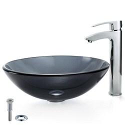 Kraus Black Vessel Sink and Visio Bathroom Faucet