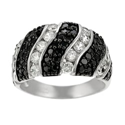Tressa Sterling Silver Black and Clear CZ Dome Ring