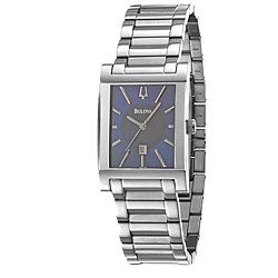 Bulova Men's Blue Dial Stainless Steel Watch