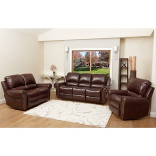 Abbyson Living Broadway Premium Top-grain Leather Reclining Sofa Set