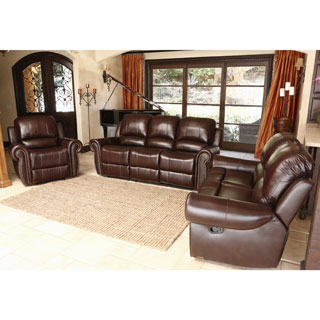 Abbyson Living Broadway Premium Top-grain Leather Reclining Sofa Set