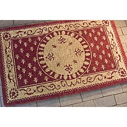 Safavieh Natural Coir Beige/ Red Welcome Mat (2'6 x 4')