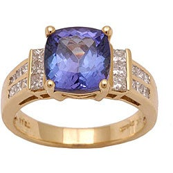 D'Yach 18k Yellow Gold Tanzanite and 3/5ct TDW Diamond Ring (G-H, SI)