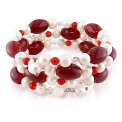 FW Pearl, Carnelian and Crystal Bead Coil Bracelet (7-7.5 mm)