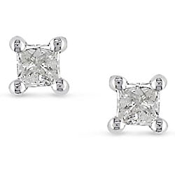 Miadora Sterling Silver 1/6ct TDW Diamond Solitaire Stud Earrings