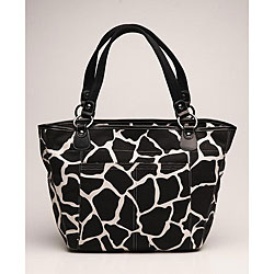 OiOi Black Giraffe Shopper Tote Diaper Bag