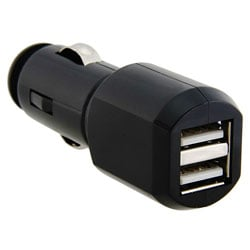 Eforcity Black 2-port USB Car Charger w/ LED Light
