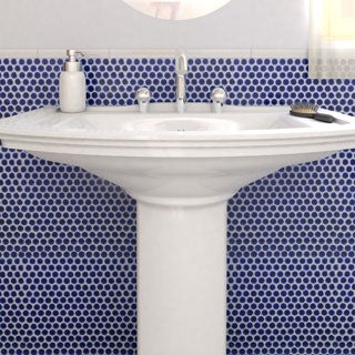 SomerTile 12.25x12-in Penny 3/4-in Cobalt Blue Porcelain Mosaic Tile (Pack of 10)