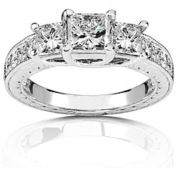 14k Gold 1 1/3ct TDW Princess 3-stone Diamond Ring (H-I, I1-I2)