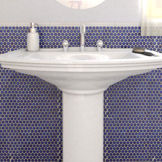 SomerTile 12.25x12-in Penny 3/4-in Blue Eye Porcelain Mosaic Tile (Pack of 10)