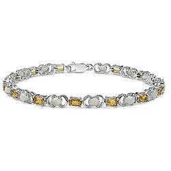 Malaika Sterling Silver Genuine Citrine and Opal Bracelet
