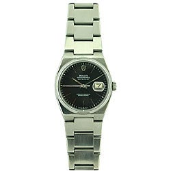Pre-owned Rolex Quartz Oysterdate Men's Black Dial Watch