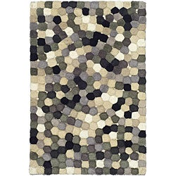 Handmade Soho Mosaic Black New Zealand Wool Rug (2' x 3')