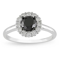 14k Gold 1 3/8ct TDW Black and White Diamond Ring (H-I, I2-I3)