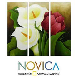 'Calla Lilies and Tulip' Triptych Original Art (Mexico)
