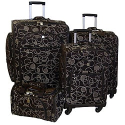 American Flyer Swirls Quattro 4-piece Euro Luggage Set