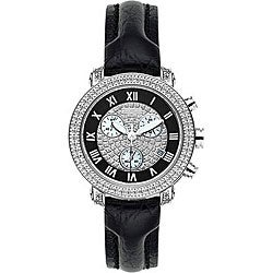 Joe Rodeo Women's Passion Black Leather Strap Diamond Watch