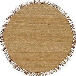 Hand-woven Natural Bleached Jute Rug (6' Round)