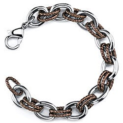 Stainless Steel and Brown Double Braided Oval Link Bracelet