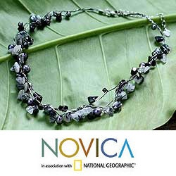 Pearl and Rutile Quartz 'River Of Night' Necklace (3-5 mm) (Thailand)