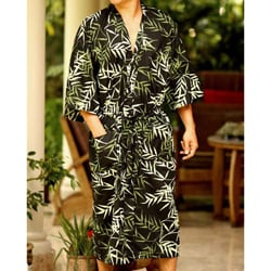 Cotton &#39;Forest Bamboo&#39; Men&#39;s Batik Robe (Indonesia)