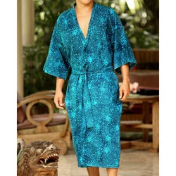 Cotton &#39;Cosmos&#39; Men&#39;s Batik Robe (Indonesia)