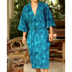 Cotton 'Cosmos' Men's Batik Robe (Indonesia)