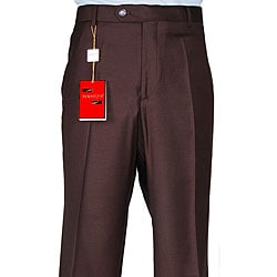 Men's Brown Wool Flat-front Dress Pants