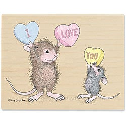 House mouse 39 with all my heart 39 wood mounted rubber stamp for Mouse house music