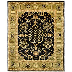 Indo Uzbek Hand-knotted Black/ Light Green Wool Rug (8'5 x 9'8)