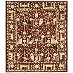 Indo Kazak Hand-knotted Maroon Wool Rug (5' x 8')