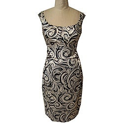 Maggy London Women's Black/ Ivory Stretch Satin Dress