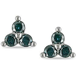 Miadora 10k White Gold 1/2ct TDW Blue Diamond Earrings