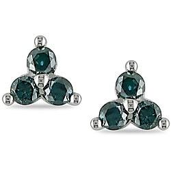 Miadora 10k White Gold 1/2ct TDW Blue Diamond Earrings (I2-I3)