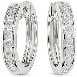14k White Gold 1ct TDW Diamond Cuff Earrings (H-I, I2-I3)
