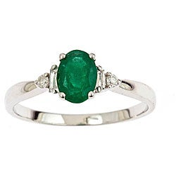 D'Yach 14k White Gold Emerald and 1/10ct TDW Diamond Ring (G-H, SI1-SI2)