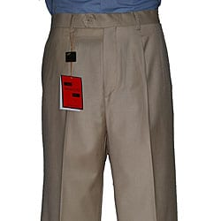Mantoni Men&#39;s Camel Single-pleat Wool Pants